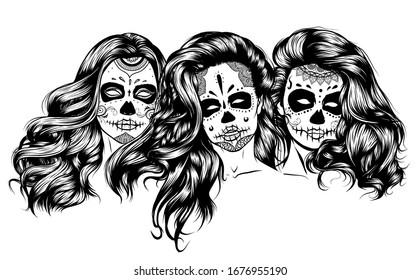 Girls with skeleton make up hand drawn vector sketch. Santa muerte women witch portrait stock illustration