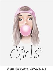 girls slogan with bubble gum girl illustration