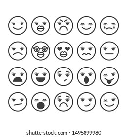 Girls smiling with eyelashes and lips. Vector flat cartoon character illustration. Emotional icons isolated