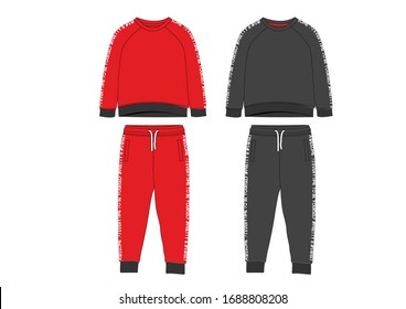 Girls sport suit set long sleeve shirt and top. Joggers pants template textile pattern design