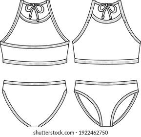 Girls Sporty look Bikini fashion flat sketch template. Swimwear Technical Fashion Illustration. Back neck ties