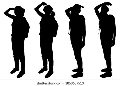 Girls are standing and look around. Tourists with backpacks behind their backs. Hiking. Women look up. Ornitologist. Four black female silhouettes are isolated on a white background.