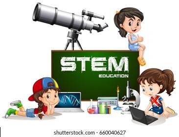 Girls and stem education on board illustration