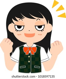 Girl's student Japanese Cat's eyes Fine. This is a vector illustration.