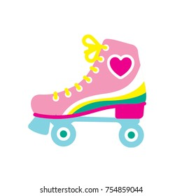 Girl's style roller skate. Vector illustration