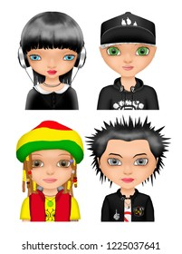 Girls subculture goth rapper rasta punk
