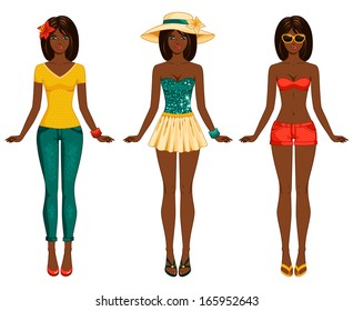Girls in summer clothes. Vector illustration. Female body proportions. African American ethic. Stylish dressed woman with long dark hair. Brunette.