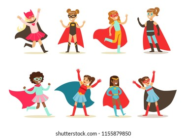 Girls in superhero costume set, pretty little super girls vector Illustrations on a white background