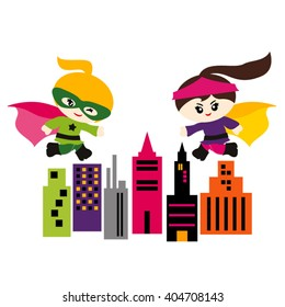 Girls superhero running above city buildings. Cute vector.