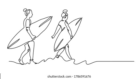 Girls with surfing boards. Black and white web banner, vector background, simple illustration. One continuous line drawing of surfer girls.