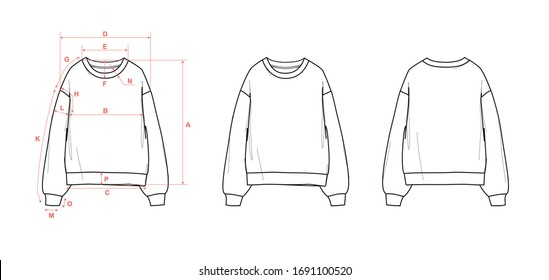 Girl's sweater with crew neck, dropped shoulder, long sleeve and cuff, flat sketch, front and back views, with measurements