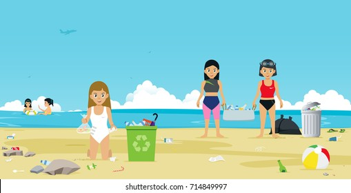 Girls in swimsuit are helping to collect garbage on the beach.