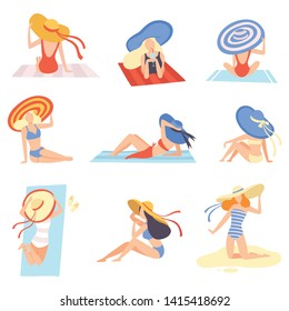 Girls in Swimsuits and Hats Sunbathing on Beach Set, Beautiful Young Woman Enjoying Summer Vacation on Seashore Vector Illustration