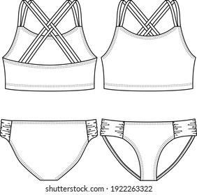 Girls Swimwear Bikini fashion flat sketch template. Technical Fashion Illustration. Strap overlapping Detail
