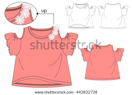 Girls T Shirt Templates Cute Flowers Stock Vector (Royalty Free ...