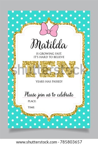 Girls Tenth Birthday Invitation Ten Years Old Party Printable Vector Template With Tiffany Color