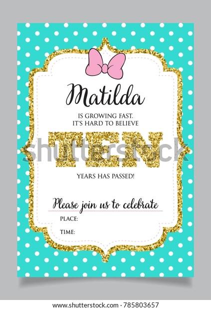 Girls Tenth Birthday Invitation Ten Years Stock Vector Royalty Free