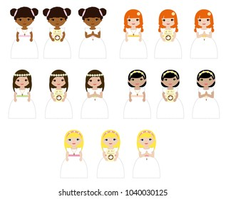 Girls in their first communion with white dress in vector