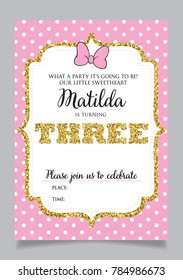 Girls Third Birthday Invitation Three Years Old Party Printable Vector Template With Pink Background