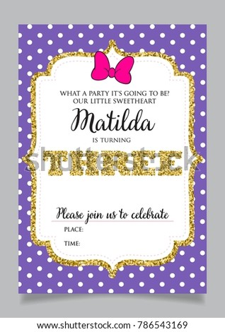 girls third birthday invitation three years stock vector royalty