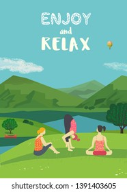 Girls traning yoga on lake bank vector color concept. Summer landscape background. Woman relax together on nature. Cute hand drawn fun rest cartoon. Holiday vacation active healthy lifestyle travel