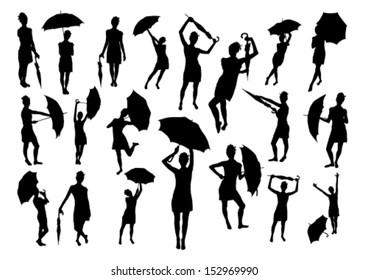 Girls with umbrella set