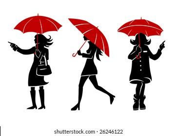 Girls with umbrellas. Hand-drawn vector illustration.