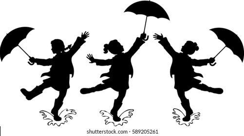 Girls with Umbrellas Silhouettes - Vector Illustration