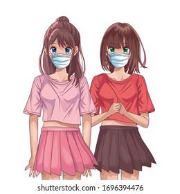 Anime Girl Friends Stock Illustrations Images Vectors Shutterstock