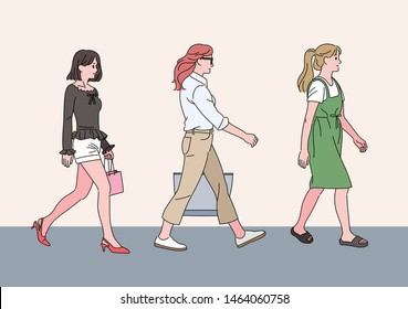 Girls of various fashion styles are walking down the street. hand drawn style vector design illustrations.