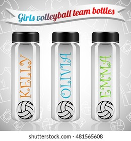Girls volleyball team plastic bottles. Grey background with volleybal uniform line pattern. Name and volleyball ball on the bottle. Plastic bottles on realistic style. Volleyball accessories.