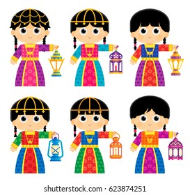 Girls are wearing Old Traditional Clothes in some Arab Gulf Countries and carrying Ramadan Lanterns