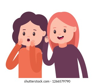 Girls whisper to each other secrets. Vector cartoon concept illustration with two gossip women isolated on white background.