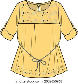 GIRLS AND WOMEN TUNIC WITH EMBROIDERY