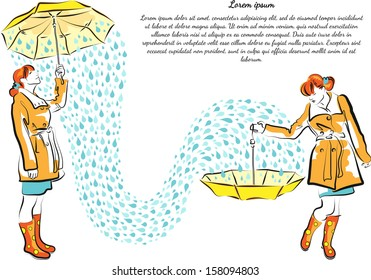 Girls with yellow umbrellas catching the rain drops. Autumn style. Text block.