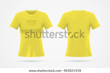 Girls Yellow Vector Tshirt Template Isolated Stock Vector Royalty