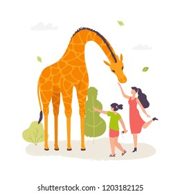 Girls in the zoo interacting with the giraffe vector illustration in flat design. Giraffe cartoon character isolated on white background.