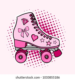 Girly beautiful high-detailed rollers. Vector illustration in pink pastel colors. Sport style design.– stock illustration