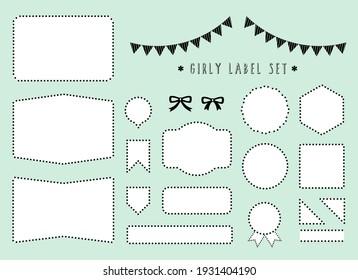 girly  dot label material set