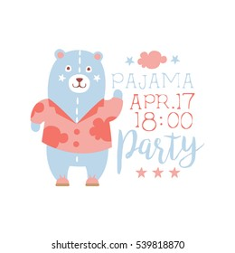 Girly Pajama Party Invitation Card Template With Toy Bear Inviting Kids For The Slumber Pyjama Overnight Sleepover