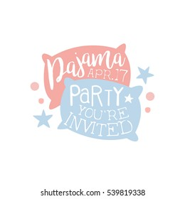 Girly Pajama Party Invitation Card Template With Two Pillows Inviting Kids For The Slumber Pyjama Overnight Sleepover