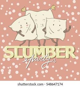 Girly Pajama Party Invitation Card Template With Three cute cartoon Pillows Inviting Kids For The Slumber Pyjama Overnight Sleepover