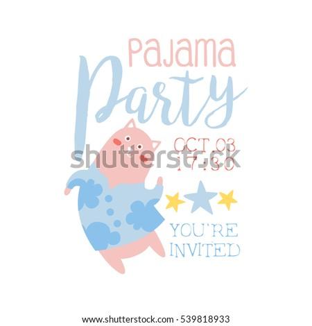 girly pajama party invitation card template stock vector royalty