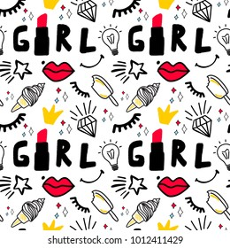 Girly seamless pattern with Fashion elements: lettering word Girl, icecreamdiamond, lips, lipstick, star, eye, smile, idea bulb. Vector trendy illustration for notebook, textile, wallpaper, tshirt