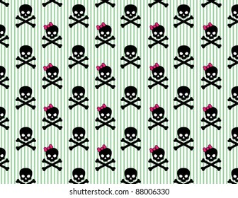 Girly Skull and Crossbones on Striped Background
