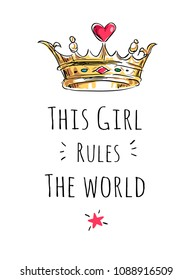 girly slogan with crown cartoon illustration