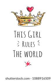 girly slogan with crown cartoon illustration