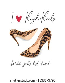 girly slogan with high heel shoe illustration