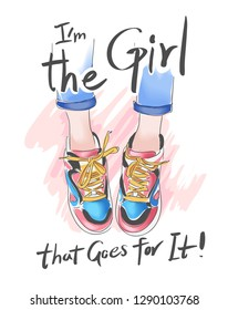 girly slogan with legs on sneakers illustration