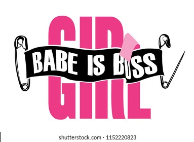 girly slogan with secure pin and ribbon illustration